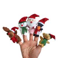 характер чучела животных оптовых-Рождественские пальцы Куклы Плюшевые игрушки Санта-Клаус кукла Чучел рождественских символов семья Пальцы Наборы Родитель-ребенок игрушки