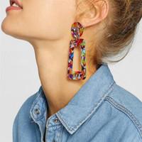 küpelik akrilik dangle toptan satış-Yeni Bohem Stili Asetat Geometrik Dikdörtgen Damla Küpe Kadınlar Için Moda Reçine Akrilik Düzensiz Dangle Küpe Mix Renkler LX