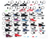 Wholesale girls character shoes resale online - 3D Rubber Keychain Stereoscopic Mold Keyring Fashion Brand Basketball Shoes Keychain Differents Charm Shoes Key Chains Valentine s Day Gifts