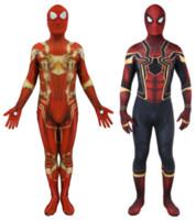 zentai catsuit movie al por mayor-Avengers Infinity War Iron SpiderMan Disfraz 3D Película Original Traje de Superhéroe Fullbody Zentai Traje Capucha Separado