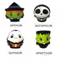 zombiespielzeug für kinder großhandel-Halloween Jumbo Squishy 10CM Die Schädelmann-Hexe Vampir-Grüner Zombie duftende Squishies Langsam steigendes Brot Kawayi Depression Kids Toys