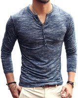 Wholesale slimming stockings resale online - Mens Blouse Reveals Stylish Casual Slim T shirt Henley Shirt Mens Solid Color Clothes Stock Clearance Days Arrive