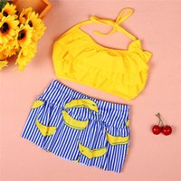 6f10b03667567 Summer 2019 Toddler Girls Clothes Kids Clothes Baby Girls Strap Top+Shorts  Set Swimsuit Costume For Girl ensemble fille J10 3