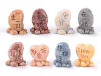 письменные камни оптовых-Камень любви Мосс микро-ландшафтный дизайн Смола ремесел Написание маленьких камней Пара подарочных украшений