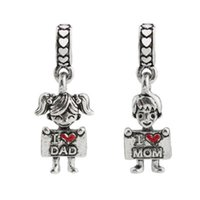 Wholesale dad bracelet for sale - Group buy I Love Dad I Love Mom Beads Charm fit Pandorx for Bracelets Bangle Boys Girls Big Hole Bead Jewelry Accessories Cheap