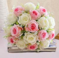 seda artificial marfil al por mayor-Flor artificial marfil rosa roja con ramos de flores suministros de boda decoración floral de seda flores artificiales baratos