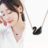 Wholesale white gold swan pendant resale online - 925 sterling silver Swarovski crystal swan pendant necklace Korean version of the hot fashion simple jewelry gift