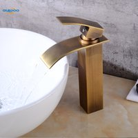 ingrosso rubinetti a mano singola in bronzo-Rubinetto a cascata Rubinetto per lavabo Rubinetto per lavabo Miscelatore monocomando in bronzo antico