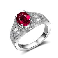 Wholesale red stones rings women resale online - Elegant Red CZ Diamond Stone Wedding RING Retail box Set Sterling Silver plated Fashion Gift Ring for Women Girls