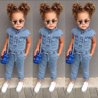 Wholesale girls wear jumpsuits for sale - Group buy Girls Jumpsuits Denim Rompers Baby Girls Jeans Wear Sleeveless Pockets Single Breasted Bow Cool Girls Outfits T