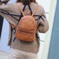 sacos de escola para meninas venda por atacado-Retro Mulheres De Couro Mochila Faculdade Preppy School Bag para Estudante Laptop Meninas Senhoras Diário de Volta Loja de Viagem Viagem