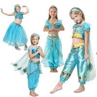 ingrosso gelsomino aladino-Costume di Halloween per Big Party Party Set Aladdin Jasmine Princess Dress Outfit Bambini Lace Top + TUTU Pant 2PC Suit Kid Boutique Tuta