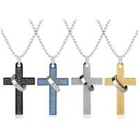 titanyum paslanmaz çelikten haç kolye kolye toptan satış-Çapraz kolye erkekler Güzel takı titanyum paslanmaz çelik takı İsa İncil Yüzük Kolye erkekler kolye