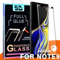 galaxy s6 3d vidrio templado completo al por mayor-3D cubierta de la caja de cobertura de pegamento completo para el Samsung Galaxy Note 8 S9 S8 Plus S7 S6 Edge paquete de protector de pantalla de película curva