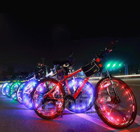 Wholesale 20 LED Bicycle Wheel LED Flash Light Bike Cycling Wheel Spoke Led Lamps m Copper Wire String Light Bike Wheel Valve Cap Lights