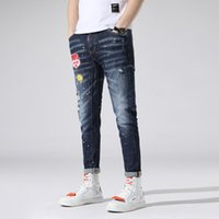 Wholesale pants boys patch resale online - Men patch Stretch Jeans Slim Fit Wash badge Zipper Hip Hop Hole close fitting Denim pants Straight Destroyed Trousers piece AAA1965