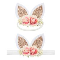 Wholesale cute rabbit ear hair bands for sale - Group buy New Baby Headbands Girls Rabbit Ears Headband Flower Elastic Head bands Cartoon Easter Bunny Headbands Kids Cute Hair Accessories