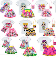 Wholesale brand baby clothing dress resale online - Surprise Girls Clothing Suits Y Kids Outfits set T shirt skirt bag Children Short Dress Top Tee Set INS Baby Summer Wear B73003