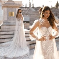 Wholesale beautiful capes resale online - Beautiful Sequins Mermaid Wedding Dresses with Cape Sweetheart Neck Lace Appliques Sweep Train Bridal Gown Beach robe de marie BC2073