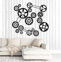 cuarto de papel tapiz único al por mayor-Nuevo Mecanismo de engranajes creativos Vinilo Etiqueta de la pared Trabajo en equipo Trabajo de oficina Pegatinas de decoración Business Room Wallpapers Regalo único