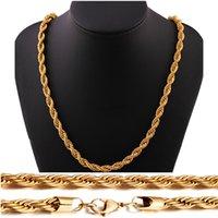 modische accessoiresstähle großhandel-18K reales Gold überzog Edelstahl-Seil-Ketten-Halskette für Männer Frauen Geschenk Modeschmuck Accessoires