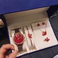 Wholesale crystal bracelet earring watch for sale - Group buy Designer Watch Set Swan Diamond Jewelry Set Swan Watch Pearl Bracelet Necklace Earrings Ring Luxury Fashion Accessories Set