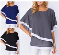 blusa de gasa o cuello al por mayor-Más el tamaño S-5XL Chiffon Patchwork Irregular Blusa Camisas Casual Sexy Batwing O Cuello Mujeres Verano Blusas Tops Camisa Nueva
