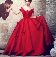 aus weiße brautkleider farbe großhandel-Neue benutzerdefinierte Vintage Saudi-Arabisch Red Gothic Brautkleider aus der Schulter Dubai Ballkleid nicht weiß bunte Brautkleider mit Farbe