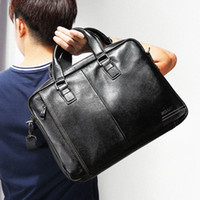 Wholesale locking briefcase resale online - Man Leisure Time Slanting Single Shoulder Genuine Leather Male Package Business Affairs Briefcase Horizontal Section Large Rong Handbag Bags