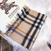 Wholesale checkered scarves resale online - Luxury Cashmere Scarf for Women and men Autumn Winter Designer rainbow Checkered Long Scarves Wrap with Tag x30Cm Shawls without box L504