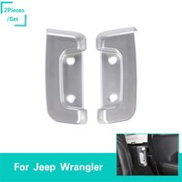 bloqueio da tampa de saída venda por atacado-Rear Door Lock dentro da tampa decorativa prata para Jeep Wrangler JL 2018 Factory Outlet alta quatlity Auto Acessórios Interno