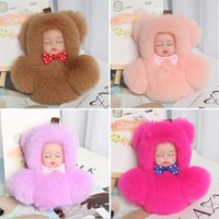 Wholesale gray baby bag resale online - Baby Doll Toy Cute Sleeping Baby Doll Key Chains For Women Bag Toy Key Ring Fluffy Pom pom Faux Fur Plush Keychains