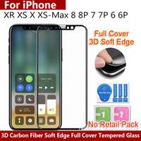 волокно плюс продажа оптовых-Оптовая продажа 3D мягкое остекление Стекло Для iphone XR XS X XS MAX 8 6 7 plus Углеродное волокно Полное покрытие Закаленное стекло телефона Защитная пленка для экрана