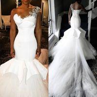 Wholesale african wedding dress make resale online - African One Shoulder Mermaid Wedding Dresses Beads Appliqued Vintage Satin Bridal Dress Plus Size Court Train Wedding Gowns