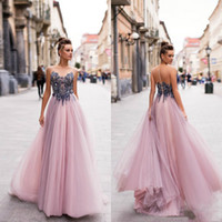 Wholesale berta evening gowns for sale - Group buy 2020 Berta Prom Dresses Sheer Jewel Neck A Line Beaded Fairy Evening Dress Party Wear Custom Made Formal Gowns Vestidos De Novia