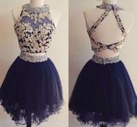 iki parça kısa lacivert elbise toptan satış-Sevimli İki Adet Mini Kısa Mezuniyet Elbiseleri Lacivert Aplikler Boncuklu Backless Tatlı 16 Mezuniyet Elbiseleri Kısa Kokteyl Parti Elbiseleri