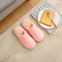 chinelos de chão indoor venda por atacado-Novos chinelos de algodão de inverno fêmea cabelo de coelho casais casa interior cor sólida deslizamento chinelos de chão lazer