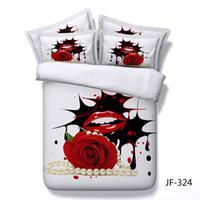 duvet rosas cheias venda por atacado-3D Pérola sexy lábios vermelhos Rose padrão conjunto de cama Colcha capa de edredon + fronha gêmeo completa rainha rei cama de casamento de luxo têxteis