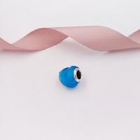 blaue kristallgoldcharmeperlen großhandel-Authentische 925 Sterling Silber Perlen Form der Liebeszauber, Scuba Blue Crystal Charms passt europäischen Pandora Style Schmuck Armbänder Halskette