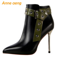 Wholesale ladies thin red belt resale online - 2019 New Winter Women Ankle Boots High Thin Heel Pointed Toe Solid Zipper Rivet Belt Sexy Ladies Women Shoes Black Short Boots