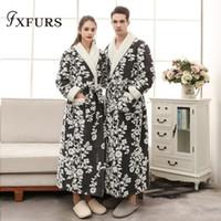 kimono sexy tragen großhandel-Paar Bademantel Bademantel Für Frauen Männer Winter Flanell Bademäntel Home Wear Nachthemd Nachtwäsche Kimono Morgenmäntel Blumen