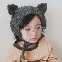 Wholesale kids handmade cute hats for sale - Group buy Autumn Winter Baby Kids Cartoon Knitted Hat Cute Ears Earmuffs Caps Handmade Knit Crochet Bandage Hats Cap M172