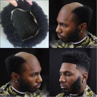 peruk tam kıvırcık toptan satış-Erkekler Saç Sistemi Peruk Erkek Hairpieces Afro Curl Tam Dantel Peruk Jet Siyah Renk # 1 Siyah için Brezilyalı Remy İnsan Saç Değiştirme erkekler
