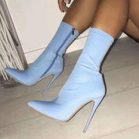 bottines bleues taille 42 achat en gros de-2019 femmes fétichistes soie Chaussette Bottes Neon 10cm Talons stretch Talons Mode Bottes Jaune Bleu cheville Peach Taille Plus 42 Chaussures