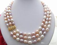 Wholesale beautiful copper pendants resale online - beautiful strds natural multi colors rice Necklace mm