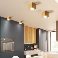 led kapalı tavan fikstürü toptan satış-Modern LED Tavan Işık Fikstür Oturma Odası Yatak Odası İç Aydınlatma Armatürü Tasarım Ahşap Yuvarlak Kare Lamba Ev Dekorasyon R43