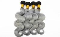 cheveux gris malaisiens vierges achat en gros de-Brésiliens humains Bundles Body Wave 1B / Grey Malaysian Indian 100% Virgin Extensions de cheveux humains 10-18 pouces