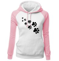 sevimli kadın spor giyim toptan satış-Kadınlar Ekleme Kontrast Renk Hoodie Kış Uzun Kollu Tişörtü Casual Spor Sevimli Hayvan Ayak Izleri ile 6 Renk Asya Boyutu S-2XL