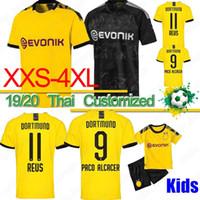 camisa reus venda por atacado-Tailândia BVB Borussia Dortmund camisa de futebol 19 20 GOTZE REUS PULISIC WITSEL Jersey PACO ALCACER camisa de futebol HOMENS crianças kit define XXS-4XL