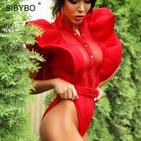 ingrosso pagliaccetti neri neri per le donne-Sibybo Black Ruffles Body Donna 2019 Summer Hollow Out Combinaison Pagliaccetti Donne Sexy Short Mesh Bodycon Tuta per